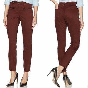 NYDJ Brown Burgundy Skinny Pants Zipper Pocket